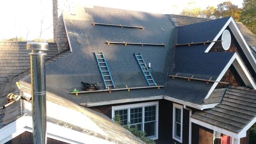Thompson Home Improvement Roofing Project Ladders